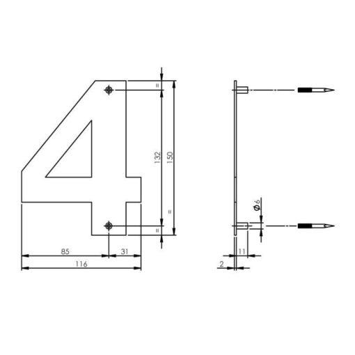 Intersteel Huisnummer 4 150x2mm INOX geborsteld - Technische tekening
