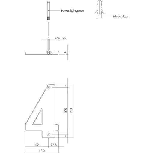 Intersteel Huisnummer 4 Koper getrommeld - Technische tekening
