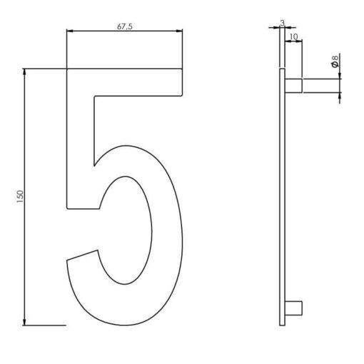 Intersteel Huisnummer 5 150 mm INOX geborsteld - Technische tekening