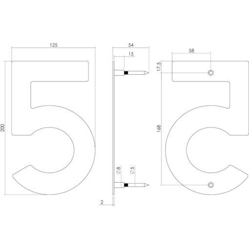 Intersteel Huisnummer 5 200 mm INOX geborsteld - Technische tekening