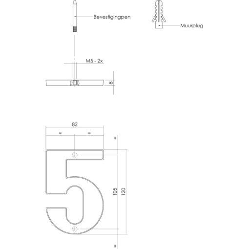 Intersteel Huisnummer 5 Koper getrommeld - Technische tekening