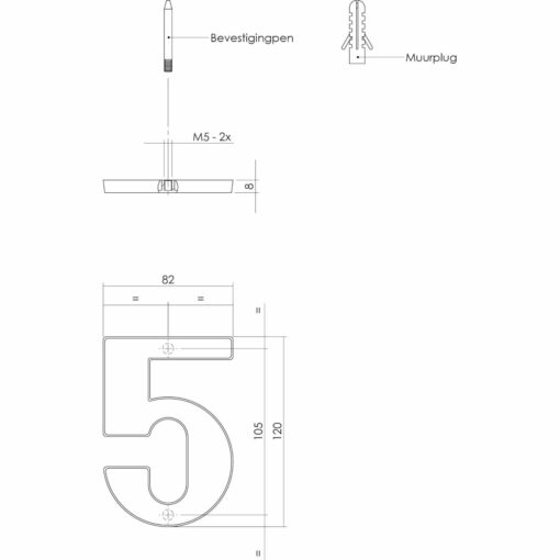Intersteel Huisnummer 5 Koper titaan PVD - Technische tekening