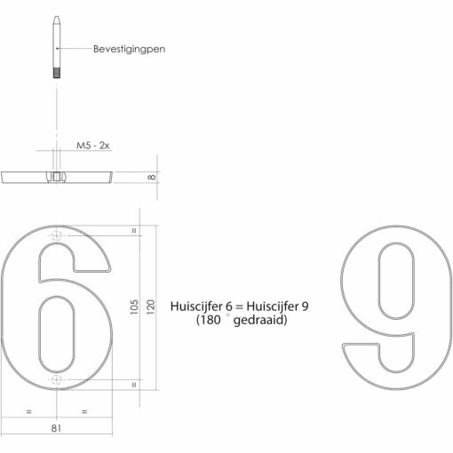 Intersteel Huisnummer 6 Koper gelakt - Technische tekening