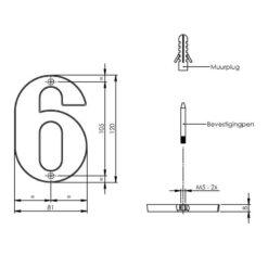 Intersteel Huisnummer 6 Koper titaan PVD - Technische tekening