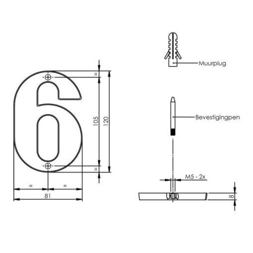 Intersteel Huisnummer 6 chroom mat - Technische tekening