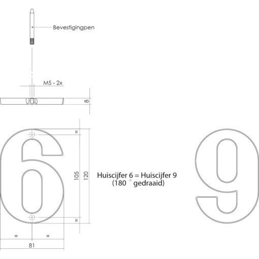 Intersteel Huisnummer 6 nikkel mat - Technische tekening