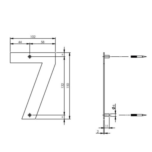 Intersteel Huisnummer 7 150x2mm INOX geborsteld - Technische tekening