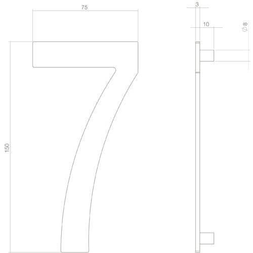 Intersteel Huisnummer 7 INOX mat zwart - Technische tekening