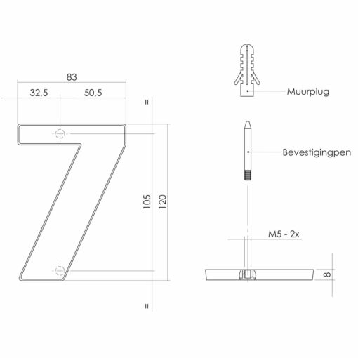 Intersteel Huisnummer 7 Koper gelakt - Technische tekening