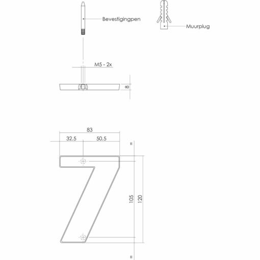 Intersteel Huisnummer 7 Koper titaan PVD - Technische tekening
