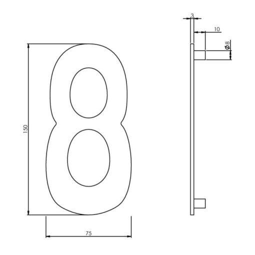 Intersteel Huisnummer 8 150 mm INOX geborsteld - Technische tekening