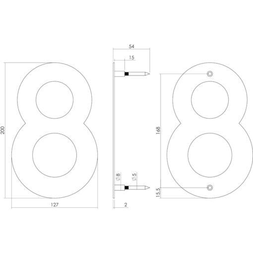Intersteel Huisnummer 8 200 mm INOX geborsteld - Technische tekening