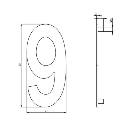 Intersteel Huisnummer 9 150 mm INOX geborsteld - Technische tekening
