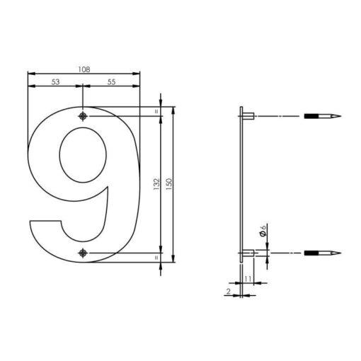 Intersteel Huisnummer 9 150x2mm INOX geborsteld - Technische tekening