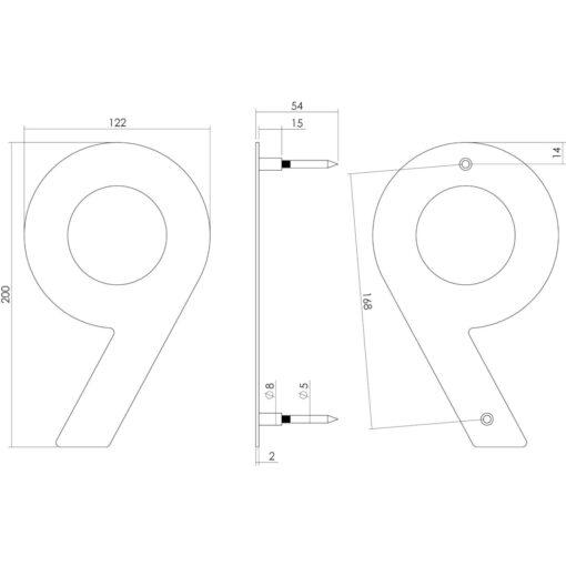 Intersteel Huisnummer 9 200 mm INOX geborsteld - Technische tekening