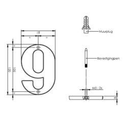 Intersteel Huisnummer 9 Koper titaan PVD - Technische tekening