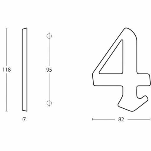 Intersteel Huisnummer Gotisch 3 Koper gelakt - Technische tekening
