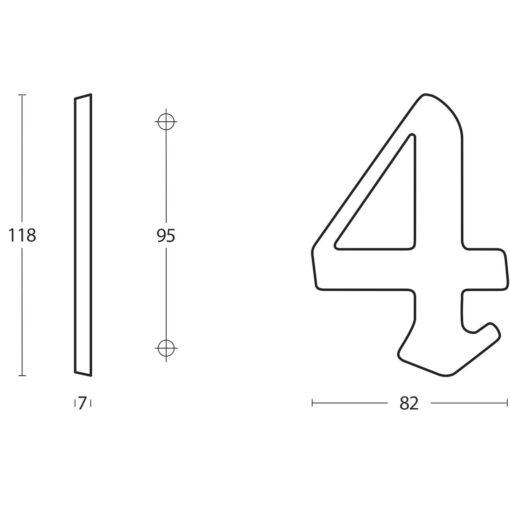 Intersteel Huisnummer Gotisch 4 Koper gebruineerd - Technische tekening