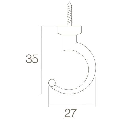 Intersteel Jashaak 35 mm Koper gelakt - Technische tekening
