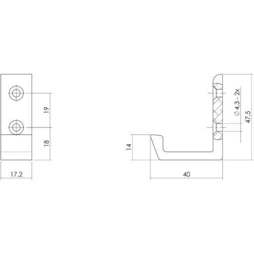 Intersteel Jashaak 40 mm aluminium verticaal - Technische tekening