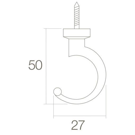 Intersteel Jashaak 50 mm Koper gelakt - Technische tekening