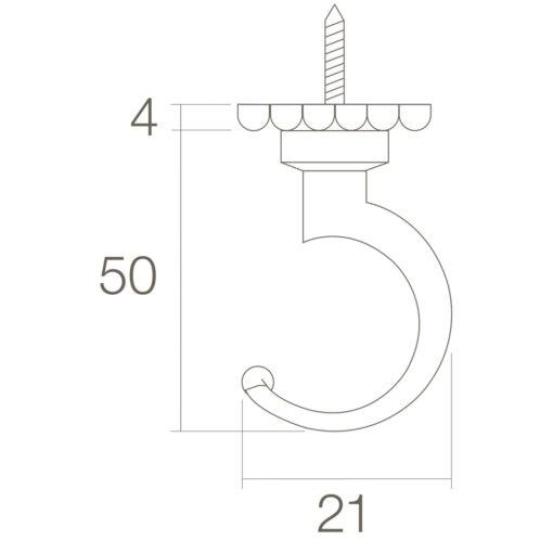 Intersteel Jashaak 54 mm Koper gelakt - Technische tekening