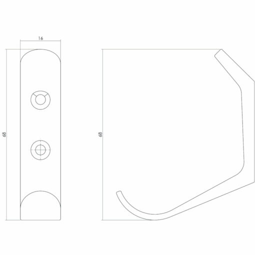 Intersteel Jashaak 56 mm INOX geborsteld - Technische tekening