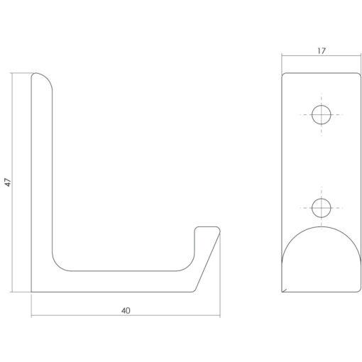 Intersteel Jashaak recht INOX geborsteld - Technische tekening
