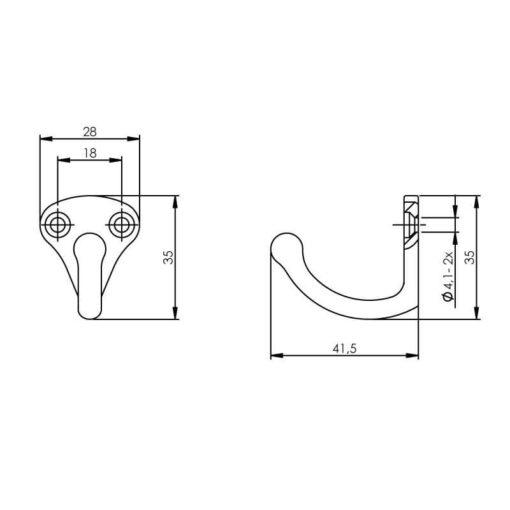 Intersteel Jashaak scheepsmodel INOX geborsteld - Technische tekening