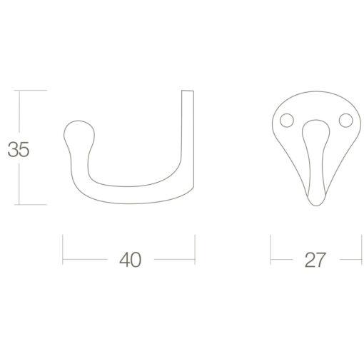 Intersteel Jashaak scheepsmodel Koper gelakt - Technische tekening