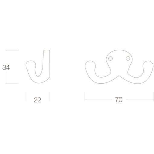 Intersteel Jashaak scheepsmodel dubbel Koper gelakt - Technische tekening