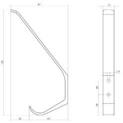 Intersteel Kapstokhaak afgerond INOX geborsteld - Technische tekening