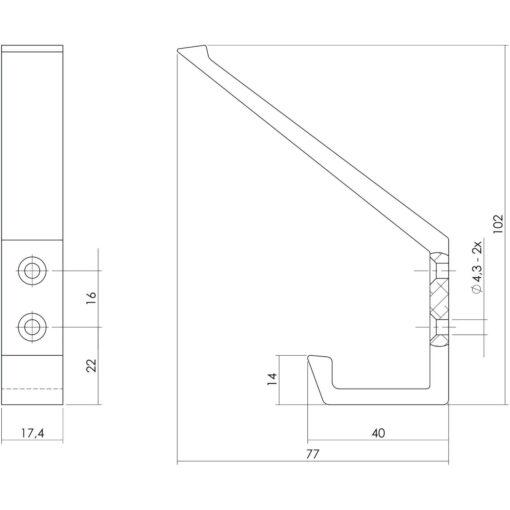 Intersteel Kapstokhaak aluminium - Technische tekening