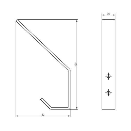 Intersteel Kapstokhaak gebogen INOX geborsteld 135 mm - Technische tekening