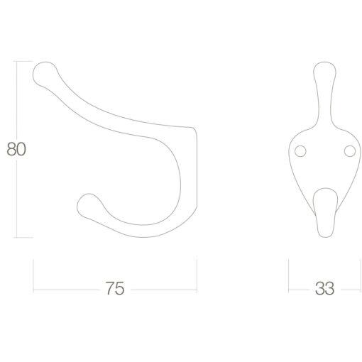 Intersteel Kapstokhaak scheepsmodel Koper gelakt - Technische tekening