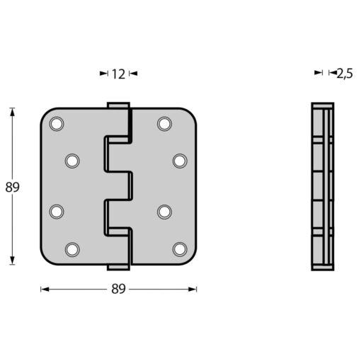 Intersteel Kogellagerscharnier afgerond tot 70 kilo INOX geborsteld - Technische tekening