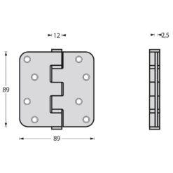 Intersteel Kogellagerscharnier afgerond tot 70 kilo INOX gepolijst - Technische tekening