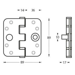 Intersteel Kogellagerscharnier afgerond tot 80 kilo INOX geborsteld - Technische tekening
