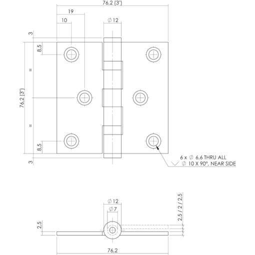 Intersteel Kogellagerscharnier recht tot 50 kilo INOX geborsteld - Technische tekening