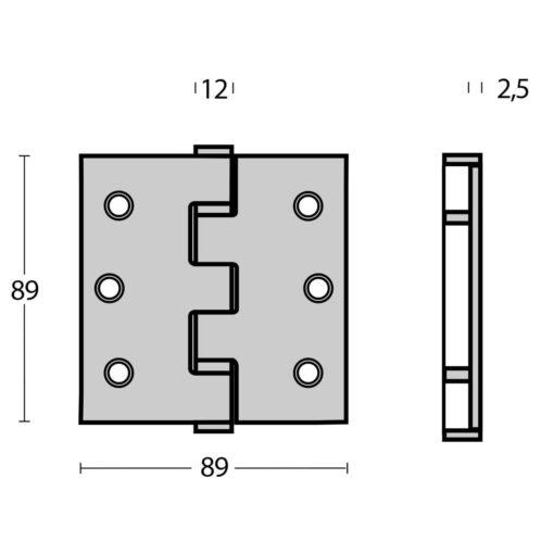 Intersteel Kogellagerscharnier recht tot 70 kilo INOX geborsteld - Technische tekening
