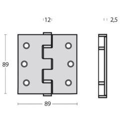 Intersteel Kogellagerscharnier recht tot 70 kilo INOX gepolijst - Technische tekening