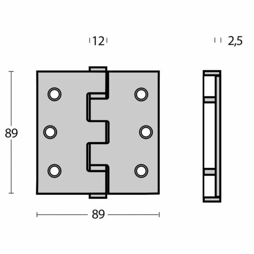 Intersteel Kogellagerscharnier recht tot 70 kilo mat zwart - Technische tekening