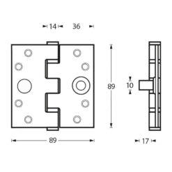 Intersteel Kogellagerscharnier recht tot 80 kilo INOX geborsteld - Technische tekening