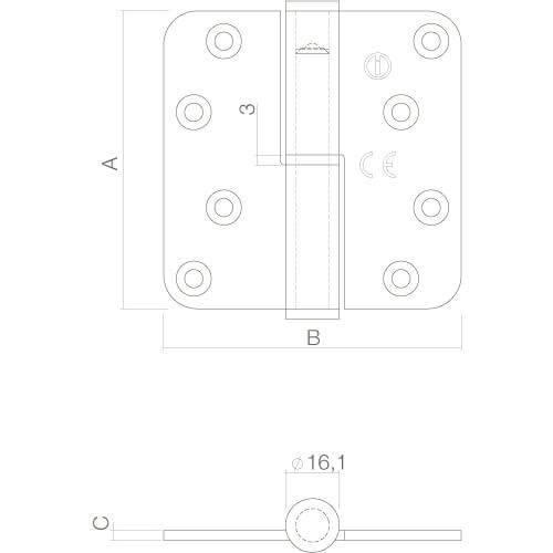 Intersteel Kogelspil paumelle DIN rechts INOX geborsteld - Technische tekening