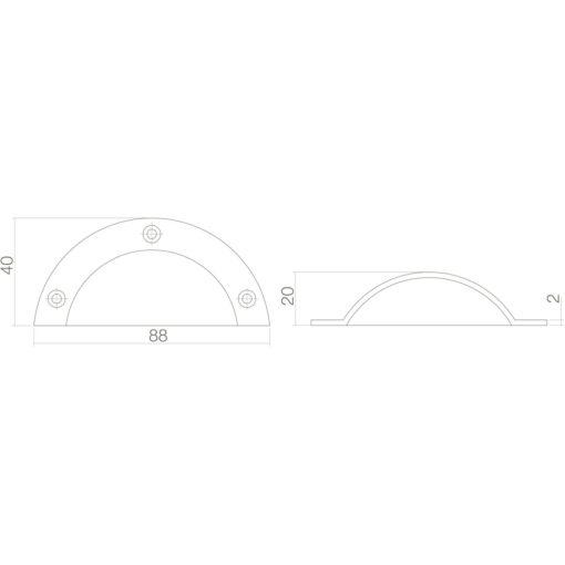 Intersteel Komgreep 88 mm Koper ongelakt - Technische tekening