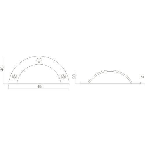 Intersteel Komgreep 88 mm nikkel mat - Technische tekening