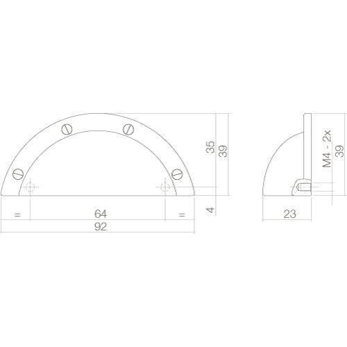 Intersteel Komgreep 92 mm chroom - Technische tekening