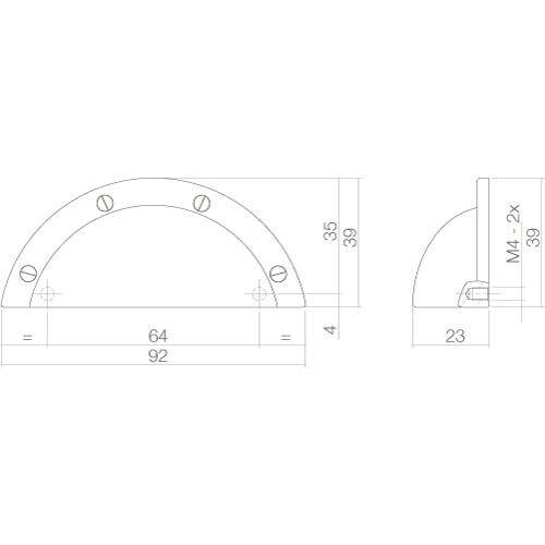Intersteel Komgreep 92 mm nikkel mat - Technische tekening