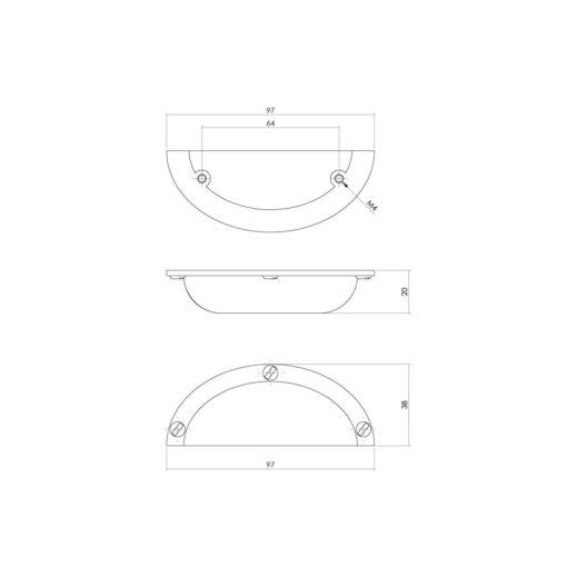 Intersteel Komgreep 97 mm - boormaat 64 mm Koper gebruineerd - Technische tekening