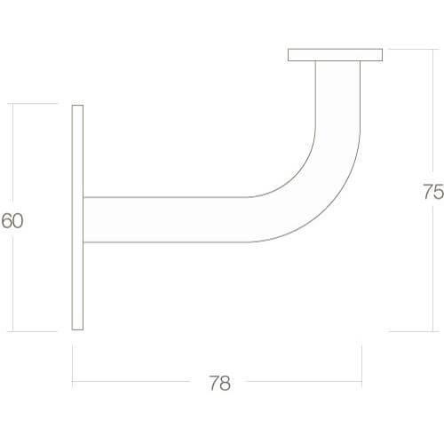 Intersteel Leuninghouder gebogen vierkant vlak INOX geborsteld - Technische tekening
